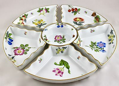 Herend Porcelain Fruits Necker Frn 6 Piece Hors D'Oeuvres Dish 444/5 1St Mint!