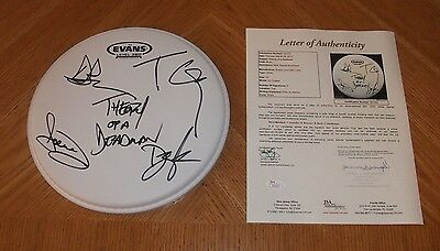 """THEORY OF A DEADMAN - Autographed 10"""" Drumhead *Band Signed* JSA Certified!"""