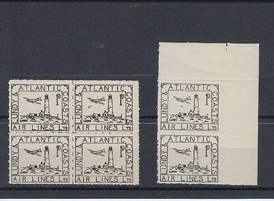 Lundy 1939 1D Black Lacal Block X4 & Marginal Pair With Falling Bomb Variety Mh