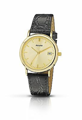 Accurist Men's Quartz Watch with Gold Dial Analogue Display and Black Leather...
