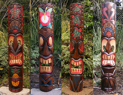 Tribal Tiki Mask Package Deal Set of 4- Patio Tropical Bar 40""