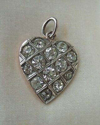 Antique French Victorian Edwardian Silver 'Diamond' Paste Heart Pendant