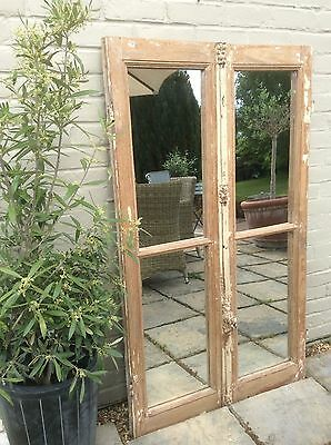 French Architectural Vintage Antique Window Mirrored Shutter Doors