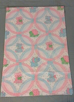 Baby Cheater Wedding Ring Quilt Fabric with Animals Pink Blue Green White 65""