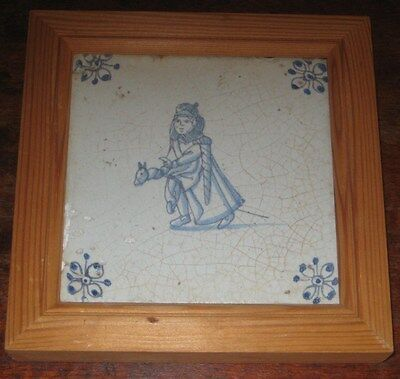 18Th Century Delft Tile With Modern Frame Painted Girl With Hobby Horse