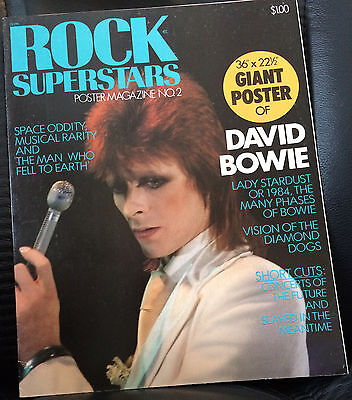 """1975 ROCK SUPERSTARS Poster Magazine No.2 DAVID BOWIE includes 36"""" x 22"""" Poster"""