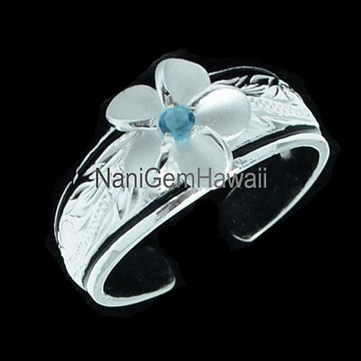 Hawaiian 925 Sterling Silver with 2 black line & 8mm Plumeria Scroll Toe Ring