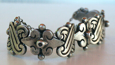 1940's HECTOR AGUILAR BRACELET HEAVY TAXCO MEXICAN STERLING SPRATLING ASSISTANT