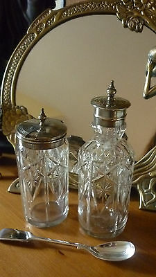 Wm Briggs C1894+ Silver Plated Cut Glass Salt/pepper Pot & Mustard Pot & Spoon