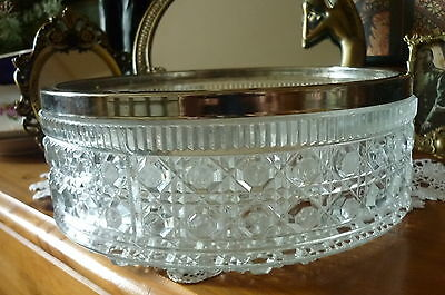 Vintage Heavyweight Glass Fruit Bowl Silver Plated Rim Art Deco Style