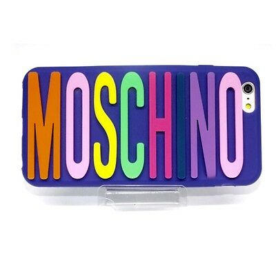 Blue Silicone Moschino  Logo  Phone Case Cover for iPhone 6