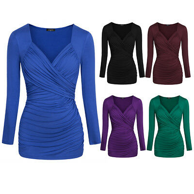 Women's Long Sleeve Tops T Shirt Casual V Neck Ruched Tunic Top Blouse Run Small