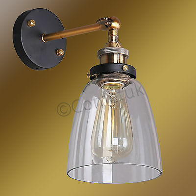 Industrial Vintage Edison Sconce Loft Metal Clear Glass Shade Wall Lamp Light UK