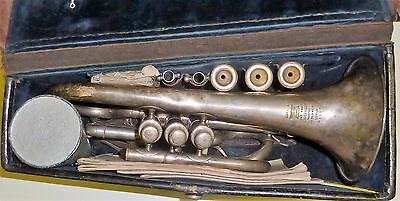 Antique CLASS A LIGHT VALVE BOOSEY & CO SILVER PLATED CORNET WITH 3 MOUTHPIECES