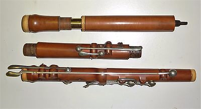 Rare Antique English Boxwood unmarked flute 10 SILVER Keys (1 missing) 690 mm