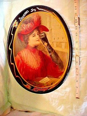 "Coca-Cola Tray ""1908 Calendar Lady"" SOLD EVERYWHERE 5c DELICIOUS REFRESHING 1987"