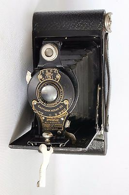 KODAK No 2 FOLDING AUTOGRAPHIC BROWNIE CAMERA ROLLFILM C 1920 + CASE GOOD (USED)