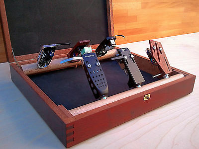 Mahogany Wood Headshell Keeper / Headshell Cartridge Holder In Solid Cherry Wood