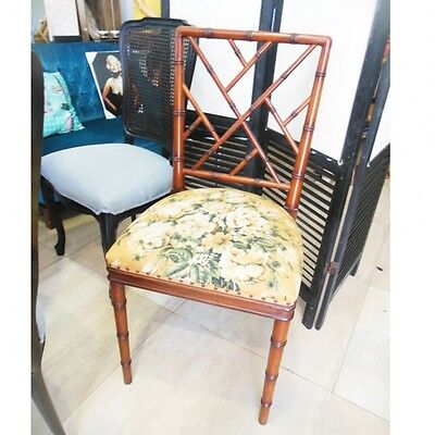 Lot 6 chairs faux bamboo chippendale chinoiserie 70s Lote 6 sillas falso bambu