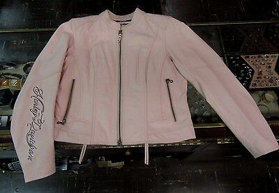 Harley Davidson Women's Charisma Pink Leather Jacket Size Petite L 97042-08VW