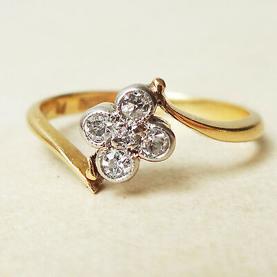 Antique 18ct Gold Diamond Clover Quatrefoil Ring -Needs Repair Size H