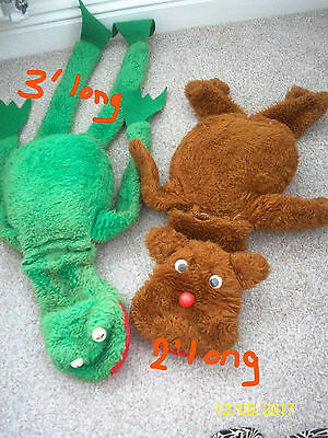 2 Large Vintage Muppet Hand Puppets.fozzie And Kermit. Plush Feel.