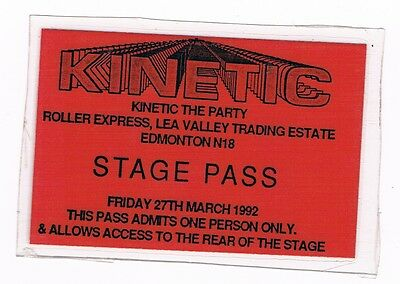 CLUB KINETIC Rave Flyer Flyers 27/3/92 Rare Acid House Stage Pass