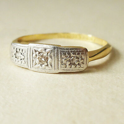 Antique Art Deco 18ct Gold Diamond Platinum Trilogy Ring Approx. Size F