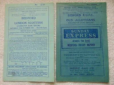 Two Bedford Rufc Programmes From 1952 & 1961 V London Scottish & Old Alleynians