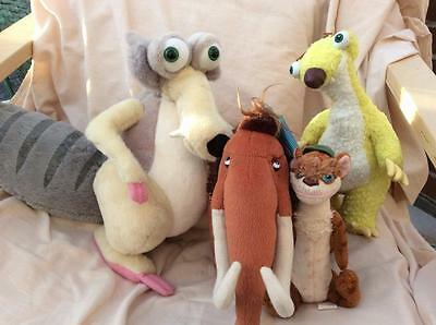"""4x Ice Age Soft Toys Scrat, Sid, Buck and Manny  Soft Toys  8""""-14"""" gyy"""