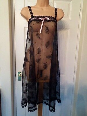 A37 Vtg Brettles Ultra Sheer Black Lace Mesh Babydoll Chemise Nightie 16/18 44""