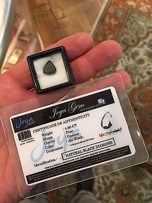 Gia Certified 4.5 cwt Loose Jet Black Pear Shaped Diamond