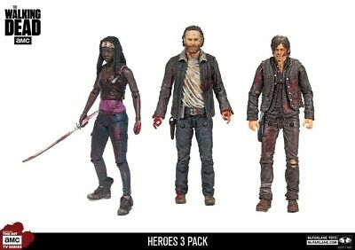 "The Walking Dead Hero 3 Pack 5"" Action Figures - Rick Daryl Michonne McFarlane"