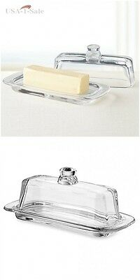 Elegant Clear Glass Butter Serving Dish with Handle and Lid NEW