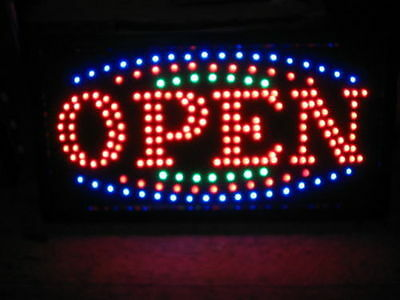FLASHING LED OPEN SIGN 48CM X25CM /with on and off Light Display Window