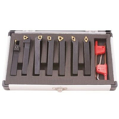 """7 Pc Indexable Tool Turning Set Shank 1/4""""+ Fitted Case"""