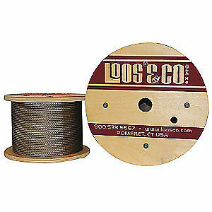 LOOS 304 Stainless Steel Cable,500 ft. L,3/16 in.,740 lb., SC18879