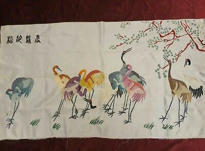 Antique Chinese Hand Embroidery Panel Wall Hanging