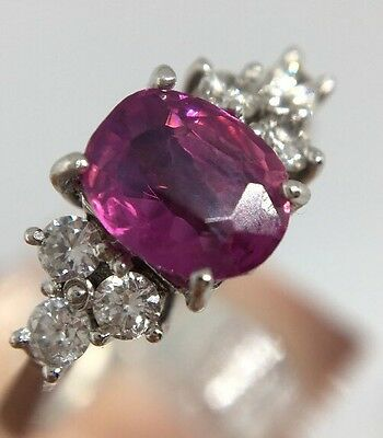 Vintage 18ct White Gold Ruby And Diamond Ring Very Pretty Ornate