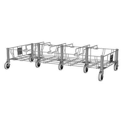 RUBBERMAID Stainless Steel Container Dolly,400 lb,Quadruple,Gray, 1956193, Gray
