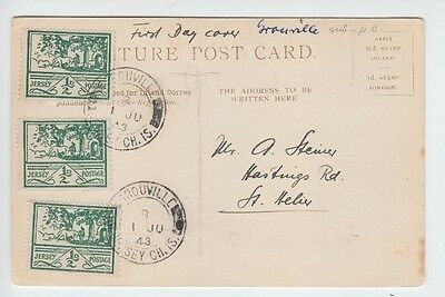 Guernsey 1943 Ww2 Grouville Sub Post Office Cds Over 1/2D X3 On Postcard Fdc