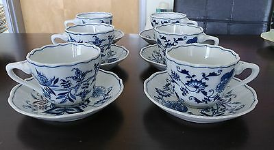 Set of 6 Blue Danube Japan Blue & White Onion China Teacups & Saucers