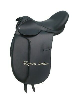 "New Leather Dressage Treeless Saddle Black Size 16, 17"" & 17.5"" with Accessories"