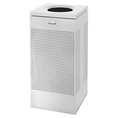RUBBERMAID Steel Trash Can,Square,16 gal.,Silver, FGSC14EPLSM, Silver