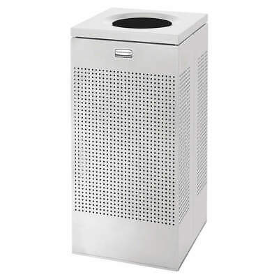 RUBBERMAID Trash Can,Square,16 gal.,Silver, FGSC14EPLSM