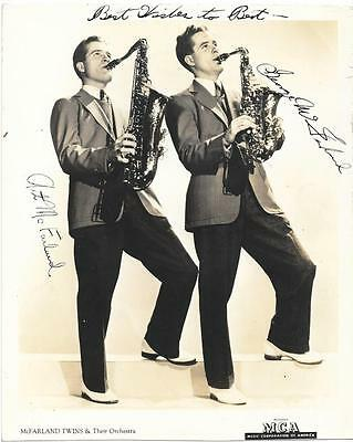 McFARLAND TWINS ORCHESTRA MCA B&W SIGNED 8X10 VINTAGE AUTOGRAPH SAXOPHONE BIG