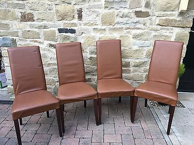 4 Tan Leather Dining Chairs