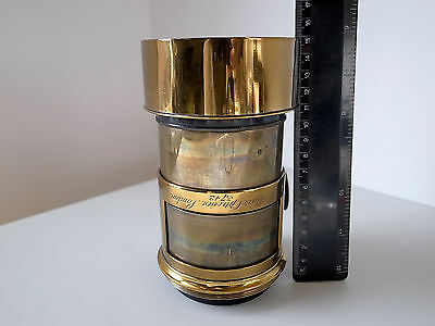 C. BURR 210MM F3.2 PETZVAL LARGE Format Vintage BRASS Wet Plate Camera Lens RARE