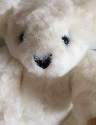 """Plush Vermont Teddy Bear Off White Bear Blue Eyes Jointed 17"""" Authentic"""