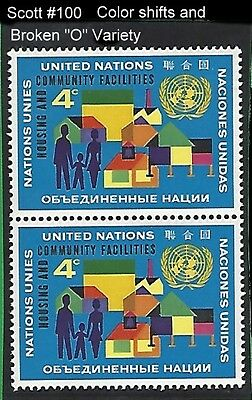 """UN Scott #100 Pair The Variety Nice Color Shifts and Broken """"O"""" MNH"""